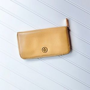 Tory Burch camel color patent leather wallet